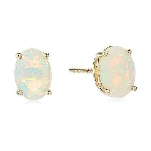 Rego Oval Opal Yellow Gold Studs