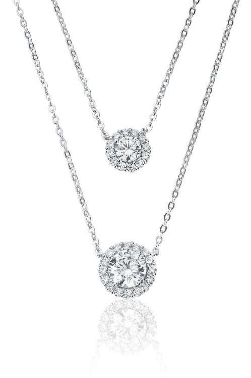 Waterford Stackable Double Halo Necklace