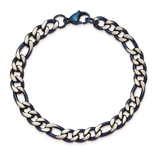 Stainless Steel Brushed And Polished Blue IP-Plated 7.5mm 8.5in Bracelet