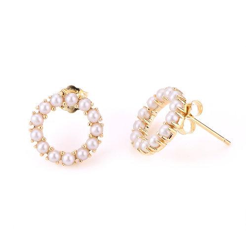 14k Seed Pearl Circle Earrings