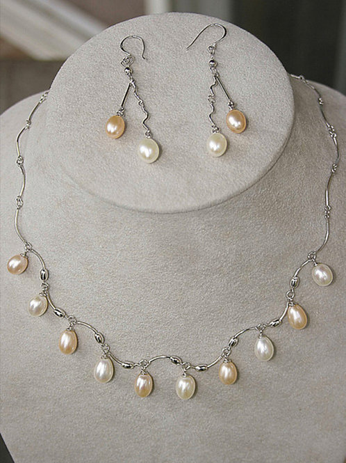 Freshwater Pink Pearl Necklace and Earring Set