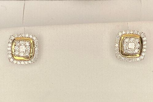 Cushion Two Tone Diamond Earrings