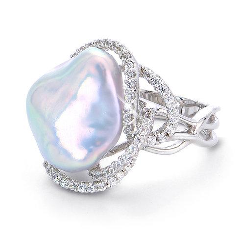 Baroque w/ White Topaz Ring