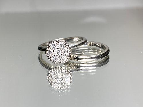 Flower Cluster Engagement Ring and Band
