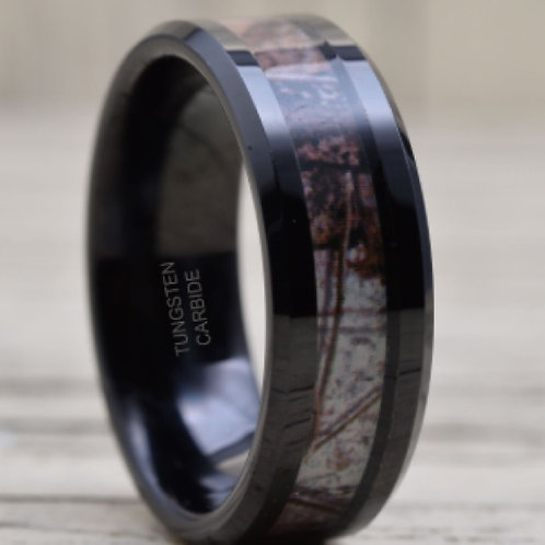 Mens Tungsten Camo Band