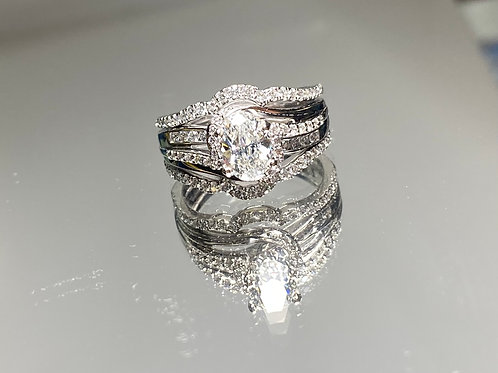 Oval Twisted Diamond Engagement Ring