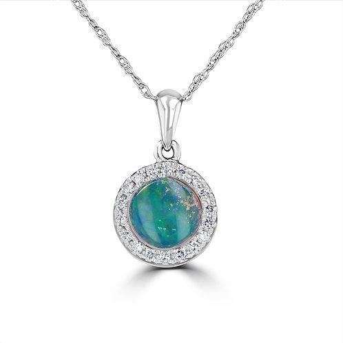 EMPIRE Halo White Opal Pendant