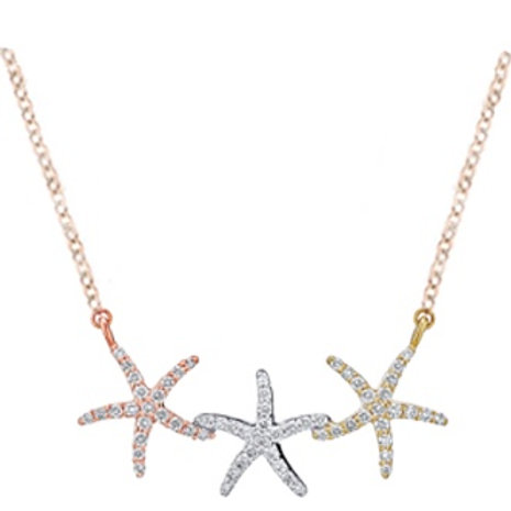 14k Gold Tri Color Starfish Diamond Pedant