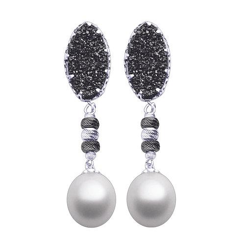 Black Druzy Pearl Earrings