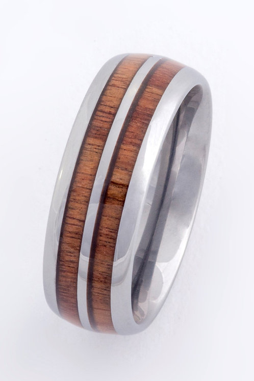 Mens Rose Wood Tungsten Band