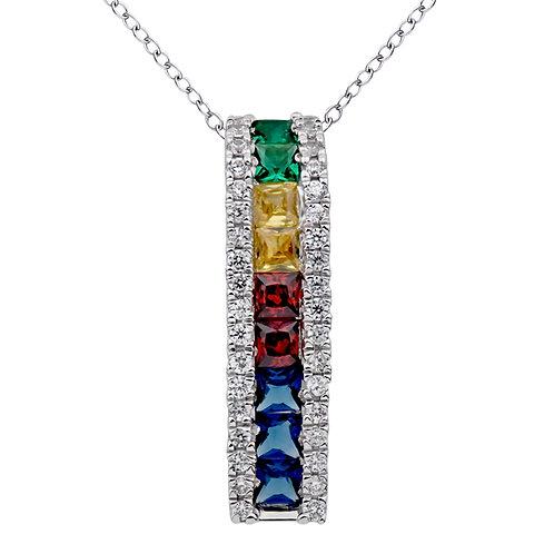 Variety Gem Rainbow Sapphire and Diamond Pendant