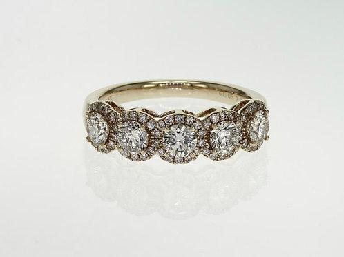 5-Stone Halo Diamond Ring