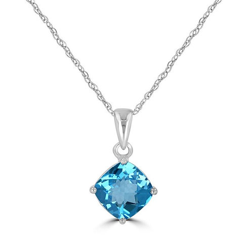 Empire Collection Cushion Cut Blue Topaz Necklace