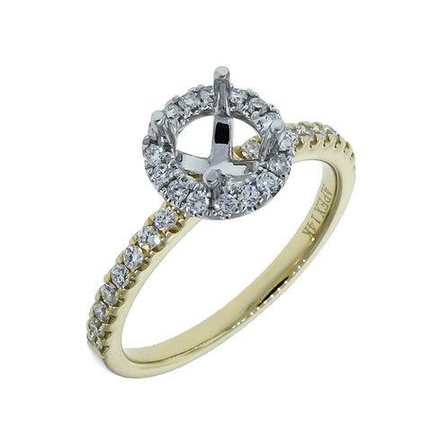 YG Halo Diamond Engagement Semi-Mount