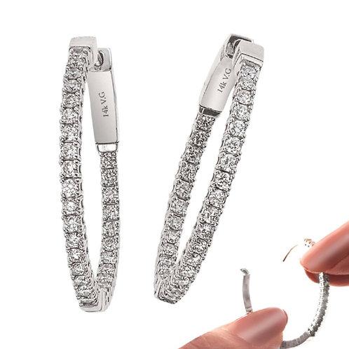 Flexible 14k WG 1.40 Carat Diamond Hoops