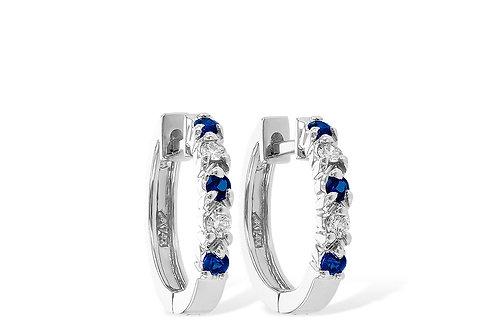 Allison Kaufman Sapphire Diamond Hoop Earrings