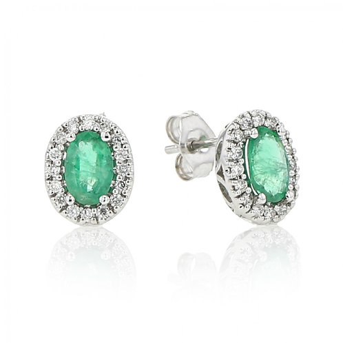 Genuine Emerald Halo Earrings