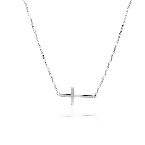 Sterling East to West Cross Necklace