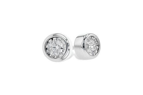 Bezel Set Miracle Head  Diamond Stud Earrings