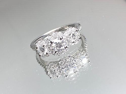 Three Stone Diamond Halo Ring