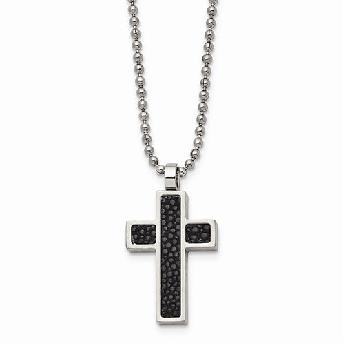 Stainless Steel Black Stingray Leather Cross Pendant