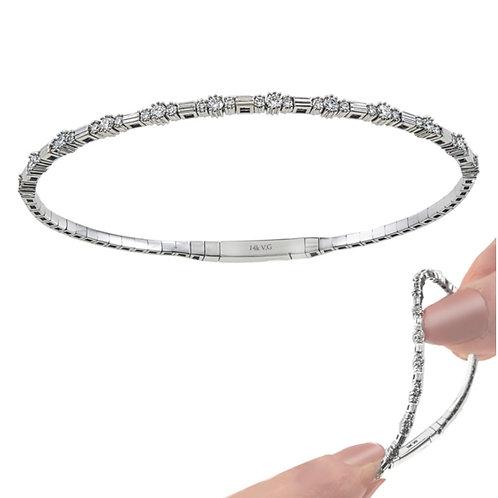Flexible 14k White Gold Diamond Bracelet