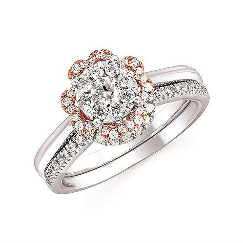 Ostbye Floral White/Rose Gold Diamond Engagement Ring w/ Matching Diamond Band