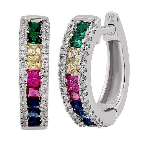 Variety Gem Diamond and Sapphire Rainbow Earrings