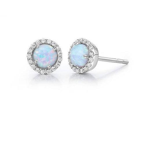 Australian Opal Halo Earrings