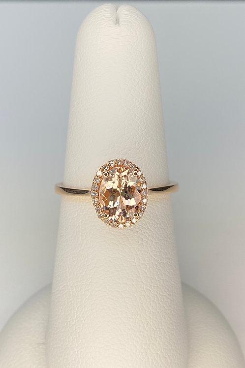 Diamond South Rose Gold Morganite Ring