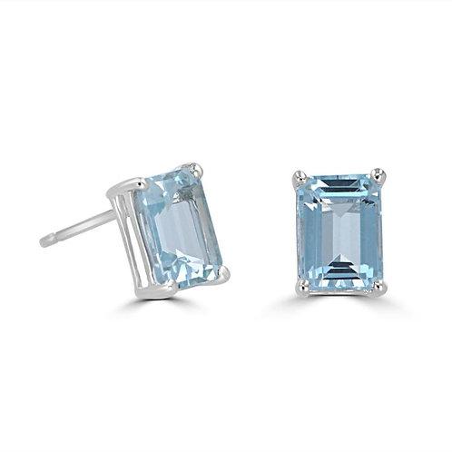 EMPIRE Baguette Aquamarine Earrings