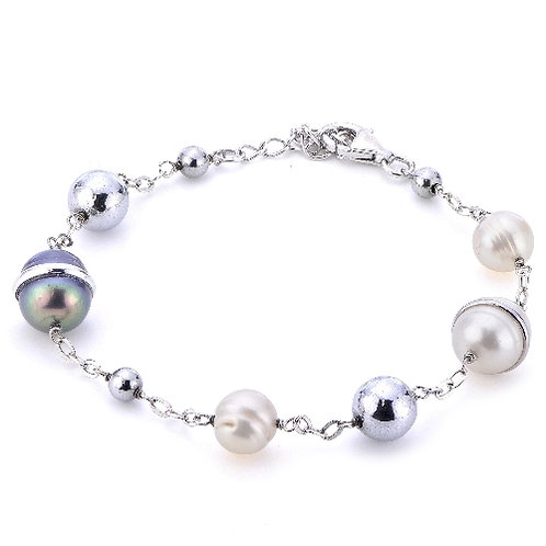 Imperial Pearl Silver Black and White FW Pearl Bracelet