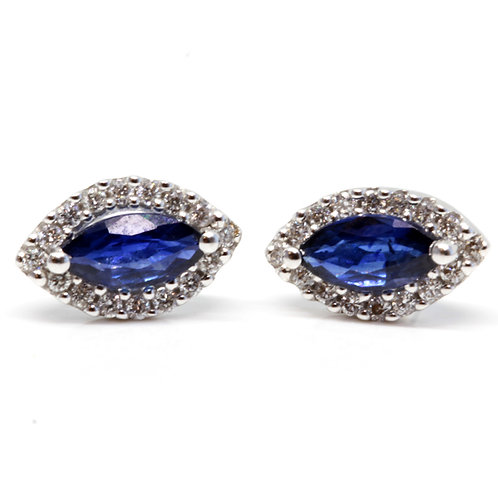 Marquise Halo Sapphire Earrings