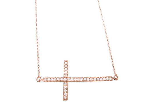 Sterling Rose Gold Tone Large CZ Cross Necklace
