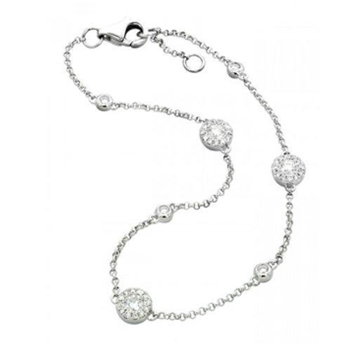 14k White Gold Halo Link Bracelet