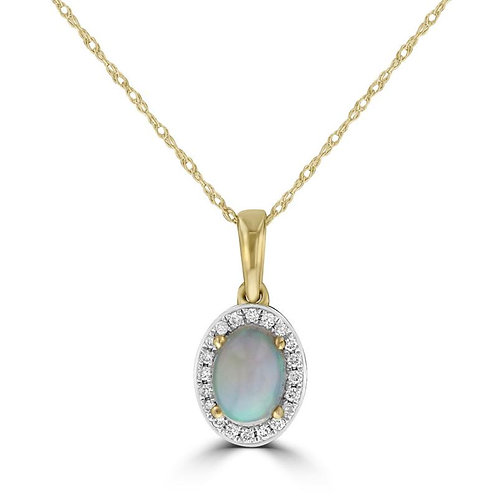Empire Collection Yellow Gold Halo Opal Pendant