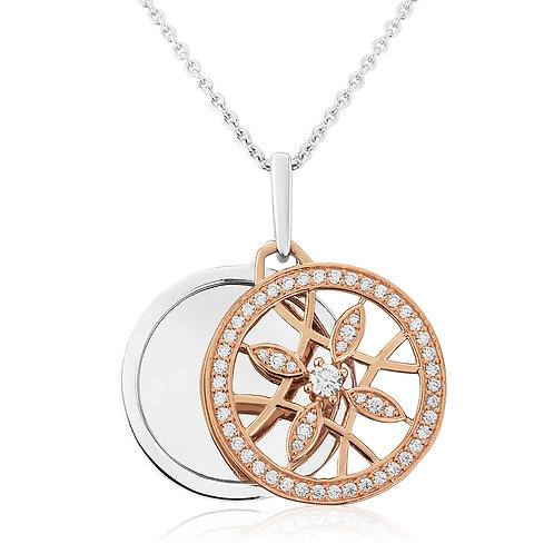 Waterford Rose Tone Disk Necklace