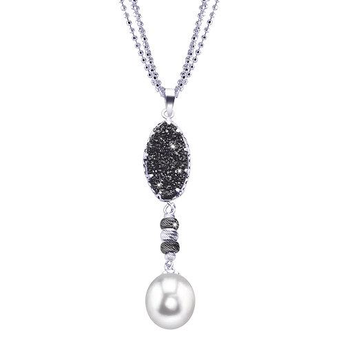 Black Druzy Pearl Pendant