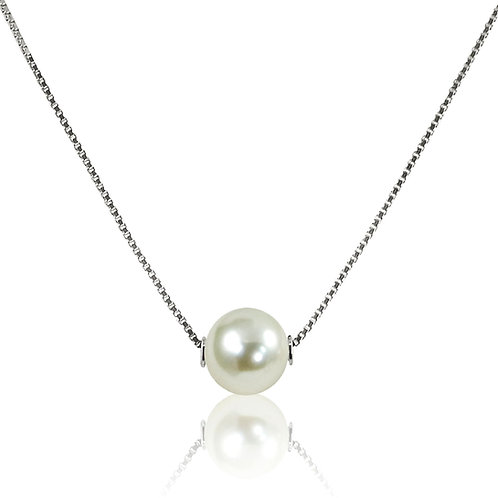 Imperial Pearl Floating Solitaire Diamond Necklace