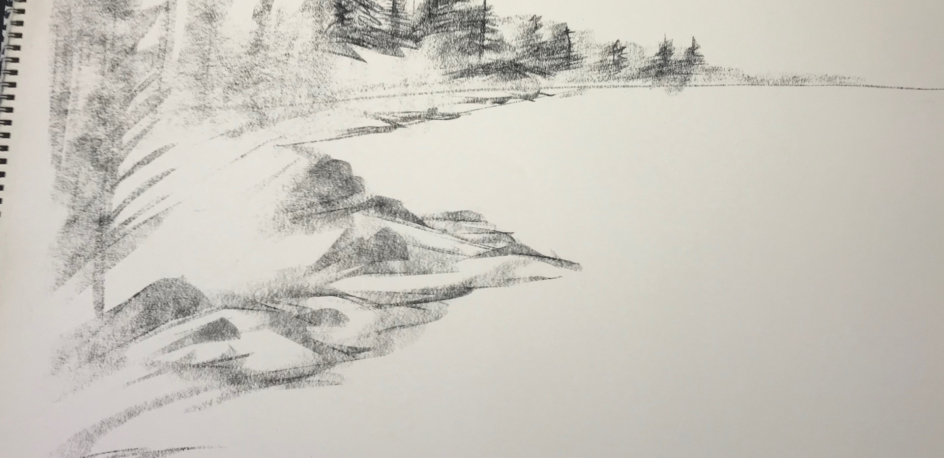 "Beginning sketch of, ""Solitude""."