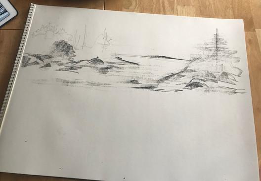 """A Lobstermans View"", beginning sketch 1"