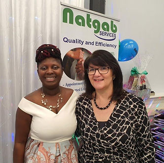 Gladys Anoquah, Natgab Services (left),