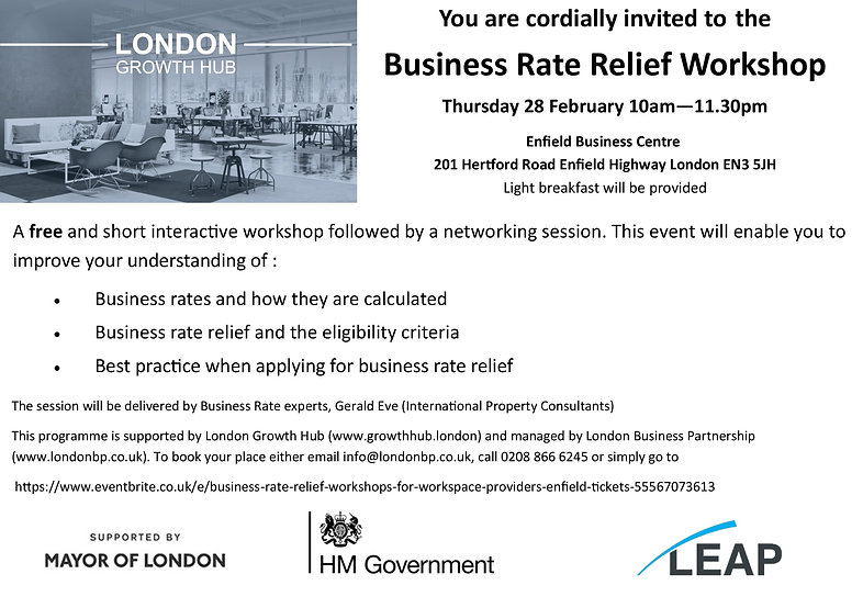 Business Rate Relief workshop Invite Enf