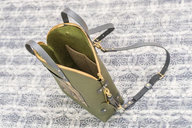 Rucksacktasche - grün/gold