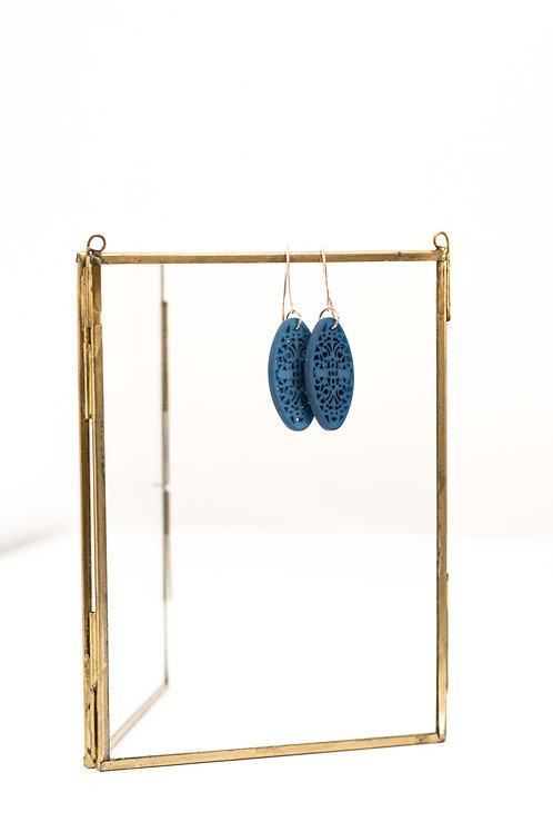 OHRRINGE - Ornament oval blau
