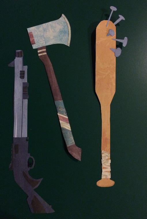 Marshall's weapons: shotgun, axe, NAILBAT!