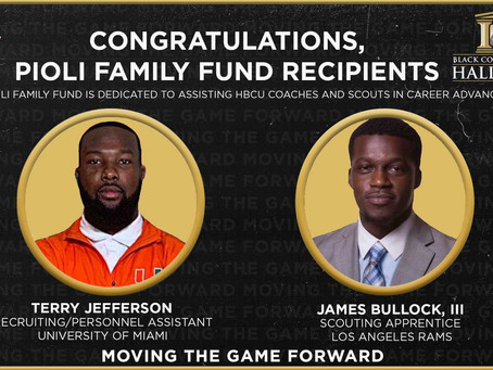 Pioli Family Fund For HBCU Coaches And Scouts Selects It's First Two Grant Recipients