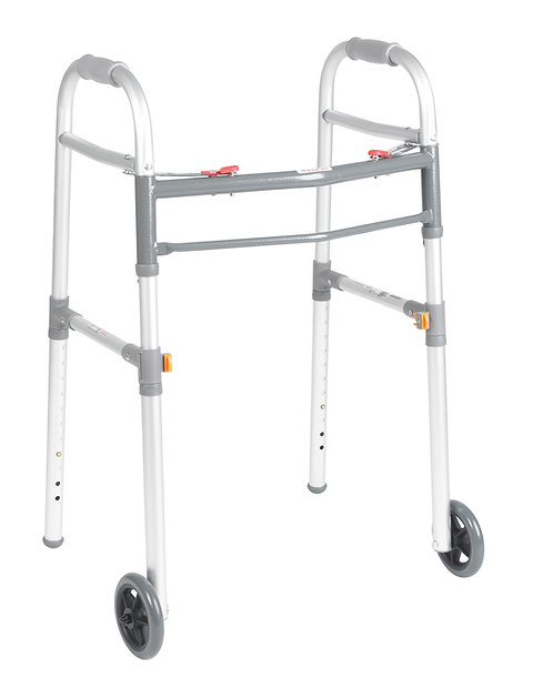 "Universal (Adult/Junior) Folding Walker, Two Button with 5"" Wheels"