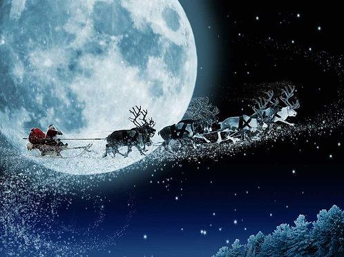 Santa Sleigh Sky 2 backdrop