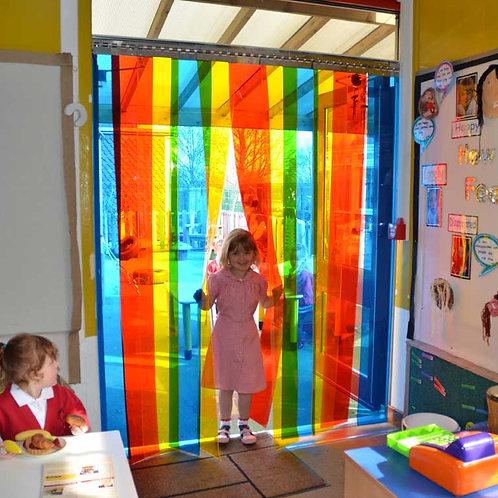 PVC Strip Door - Rainbow Coloured (for double door)